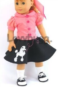 50s Poodle Skirt Set Shoes for American Girl 18 inch Doll Clothes Maryellen 🐞