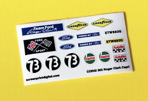 CORGI 'Roger Clark's 3.0 V6 Capri' 303 Rally Race sticker decal reproductions