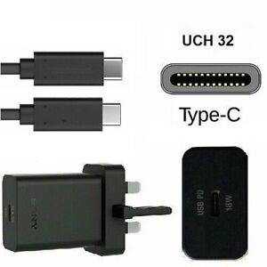Genuine Sony UK Wall Charger 3A 18W Ultra Fast & USB-C To C Data Sync Cable