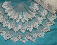 "9""*1 Yard Soft Off White 3 Layers Embroidery Tulle Lace Fabric Trim~Bridal Dress"