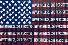 "Nevertheless She Persisted Flag Painting Acrylic 30"" x 20"" Shop for Justice 🇺🇸"
