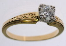 Ladies 18K Yellow Gold Jabel Solitaire Diamond Estate Ring J250114