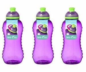 3x Sistema Twist 'n' Sip BPA Free Drink Bottle, 330 ml - Purple New