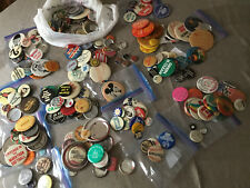 About 300 Vintage Mixed Pin Pinback Buttons Food Beer Music Sports Planet People