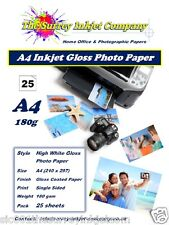 A4 GLOSS PHOTO PAPER 180G - INSTANT DRY INKJET WATER RESISTANT PAPER 25 SHEETS