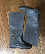 Chloe Grey Distressed Leather Pull On Knee High Boots Shoes Size 36.5