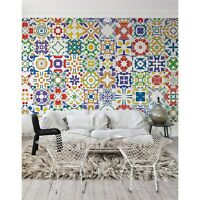 Portuguese tile Pastel mural Colorful Wall art Non-Woven wallpaper Traditional