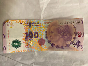 One Bill of 100 Argentine pesos with the face of eva peron.