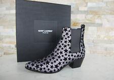 SAINT LAURENT Gr 36,5 Stiefeletten Glitter booties 443095 Schuhe NEU UVP 795€