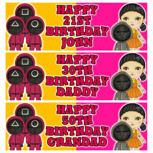 SQUID GAMES Personalised Birthday Banner - Squid Games Birthday Party Banner