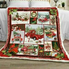 Red Truck With Christmas Tree Sofa Quilt Blanket, Fleece Blanket Printer In US