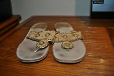 Woman's Jack Rogers Gold & Light Brown Cork Slip-on Thong Flip Flops Size 10 GUC