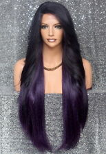 Extra Long Full Lace Front Wig Heat OK Feather Side Hair Piece WBPC Dark Purple