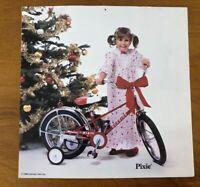 Vtg Schwinn Pixie Bicycle Dealer Hanging Display Print Sign Bike Girl Christmas