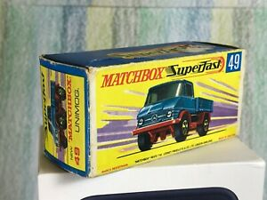 EMPTY Box Superfast Matchbox Lesney # 49 blue Unimog EMPTY original Box VG
