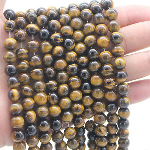 Wholesale Lot Yellow Tiger Eye Round Spacer Loose Stone Beads 4MM 10MM 12MM Gift