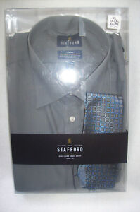 Stafford Easy-Care Travel Broadcloth Gray Dress Shirt and Tie Set-Size: XL - NEW