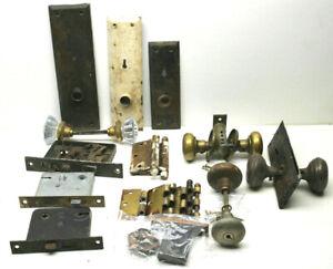 Antique Door Restoration Hardware Lot Locks+Shaft+Faceplates+Glass & Metal Knobs