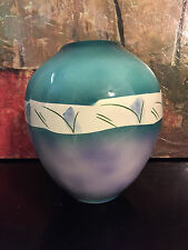 "Harris & Stiles Southwest Art Pottery Studio Vase-1985-Judith Bulbous Signed 10"""