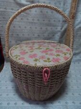 """Vintage Dritz Woven Wicker SEWING BASKET TALL Round Pink Floral Top Japan 7""""x 9"""""""