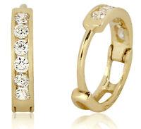 14k Solid Yellow Gold Hoop Earrings 1/3 TCW Simulated Diamond Huggies