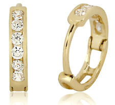 14k Solid Yellow Gold Hoop Earrings 1/3 TCW Simulated Diamond Huggies