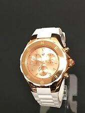 NEW MICHELE TAHITIAN JELLY BEAN ROSE GOLD,WHITE SILICONE BAND WATCH-MWW12F000030