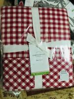 Pottery Barn Gingham Check Sheet Set Red King Cottage Chic New