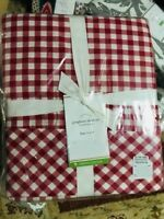 Pottery Barn Gingham Check Sheet Set Red Queen Cottage Chic New