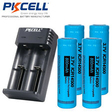 4pcs 3.7V ICR14500 800mAh Battery Rechargeable Li-ion AA LS14500 + 18650 Charger