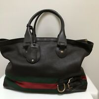 GUCCI   XL Travel Hand Bag Brown Pebbled leather Top Handle Zippered