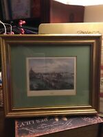 """Vintage Art~Decotique~""""BASEL 1860""""~Lithograph~Wood Frame~Double Mat~FREE SHIP~"""