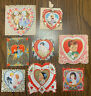 Vintage Lot Of 8 Valentines Valentine's Day Cards Used Gold Trim Made In USA