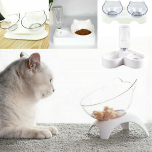 Cat Single/Double Bowls with Raised Stand Pet Non-slip Food Water Bowl Feeder