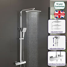 LOIS MODERN BATHROOM THERMOSTATIC SHOWER MIXER BAR VALVE TAP SQUARE HEAD EXPOSED