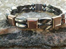 100% Black n Copper Magnetic Hematite Bracelet Anklet 2 Row 3 Stone Series