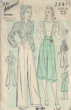 "1940s WW2 Vintage Sewing Pattern B32"" BLOUSE & PANTS (R763R) By Advance"
