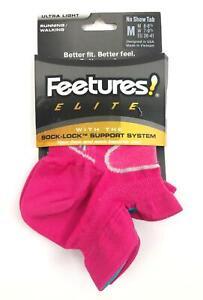 Feetures Women's Pink Size Medium Comfort Running Socks Support System