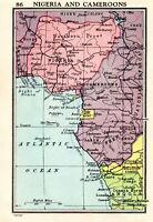 Map Of Nigeria & Cameroons John Bartholomew Vintage 1951