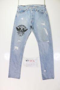 Levis 501 Customized (Code WB401) tg.45 W31 L32 Jeans Vintage Motors Déchiré
