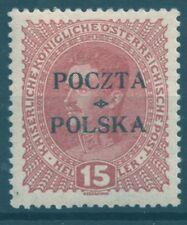 Poland 35 B1 **MNH 15h overprint 1919 Poczta Polska Cracow Mielnik & Mikstein