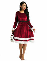 Women's Long Sleeves Santa Outfit Mrs Claus Costume Adult Christmas Fancy Dress