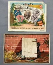 2 1880s FARM Machinery PLANO HARVESTER Binder Victorian ADVERTISING TRADE CARD