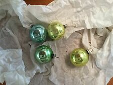 "MID MOD 1""  Mercury Glass Christmas Ornaments Signed JAPAN Lime Green, Aqua"
