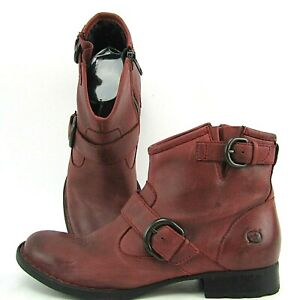 Women's 7.5 M Born Raisa Burgundy Oxblood Leather Ankle Boots Buckles Motorcycle