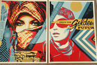 GOLDEN FUTURE FOR SOME ART DIPTYCH PRINT SET SHEPARD FAIREY OBEY SIGNED POSTERS