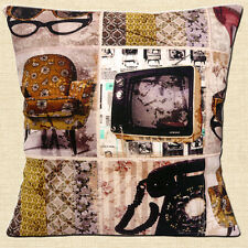 "NEW Vintage Retro 60's Home TV Telephone Chair Cotton 16"" Pillow Cushion Cover"