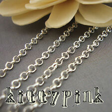 10 Metres Silver Plated Trace ROLO Chain 3mm NICKEL FREE WHOLESALE BULK