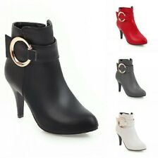 Fashion Women's Round Toe Kitten Heel Zip Up Smart Office Work OL Ankle Boots B