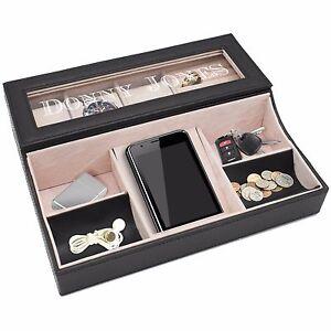 Personalized Custom Engraved Valet Box - Mens Dresser Organizer Black